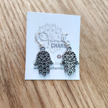 Load image into Gallery viewer, Protection Charm Earrings - Filigree Hamsa Hand Medium
