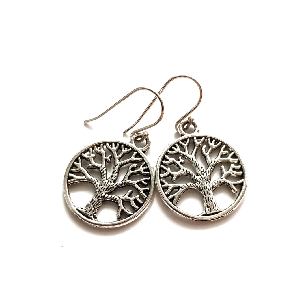 Filigree Tree of Life Charm Earrings