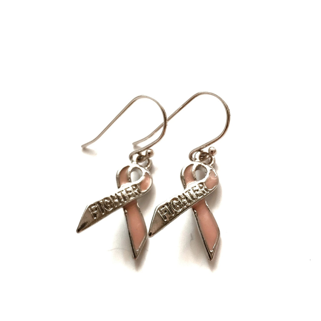 Pink Ribbon FIGHTER Charm Earrings - Gina's Charms