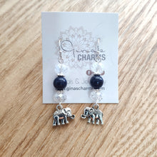Load image into Gallery viewer, Elephant Dangle Earrings - LAPIS LAZULI - Gina's Charms
