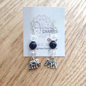 Elephant Dangle Earrings - LAPIS LAZULI - Gina's Charms