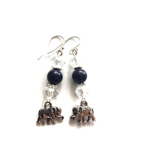 Elephant Dangle Earrings - LAPIS LAZULI