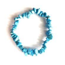 Load image into Gallery viewer, Blue Turquoise Howlite Gemstone Chips Bracelet