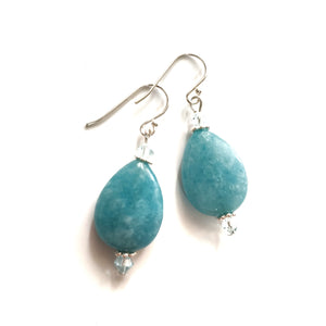Aquamarine Tear Drop Earrings with Swarovski Crystals - Gina's Charms