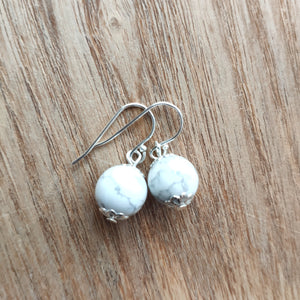 Howlite Earrings - 10mm - Gina's Charms