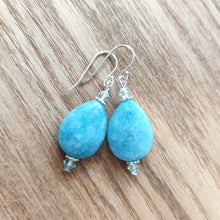 Load image into Gallery viewer, Aquamarine Tear Drop Earrings with Swarovski Crystals - Gina's Charms