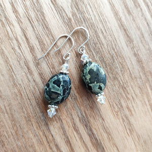 Jasper Oval Gemstone Earrings with Swarovski Crystals