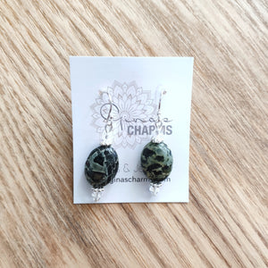 Jasper Oval Gemstone Earrings with Swarovski Crystals - Gina's Charms