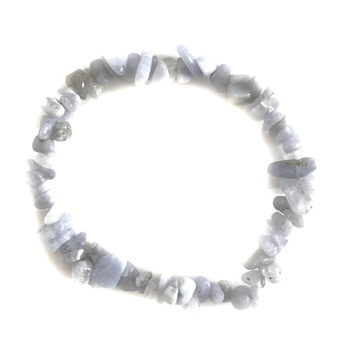Blue Lace Agate Gemstone Chips Bracelet - Gina's Charms