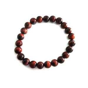 Red Tiger Eye Beaded GROUNDING PROTECTION Bracelet - Gina's Charms