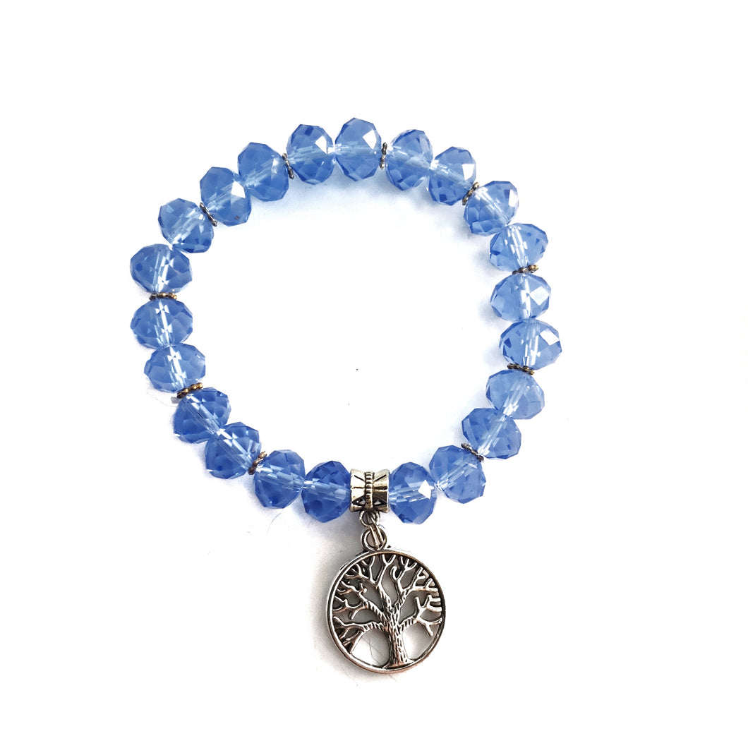 Blue Crystal Tree of Life Bracelet - Gina's Charms