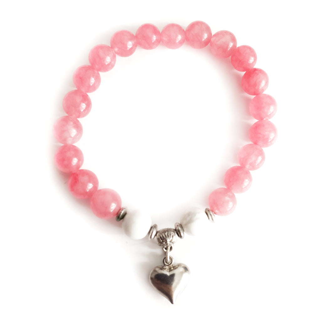 Howlite & Pink Malay Jade SELF-LOVE Bracelet