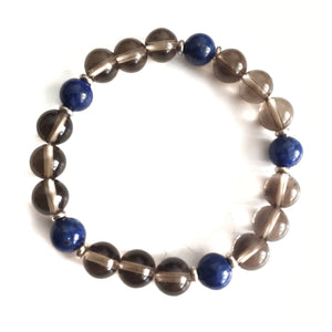 Smoky Quartz & Lapis Lazuli Beaded Bracelet - Gina's Charms