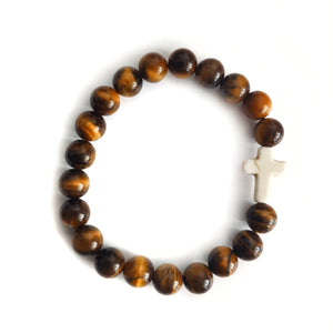 Tiger Eye Protection Bracelet with White Howlite Cross Charm