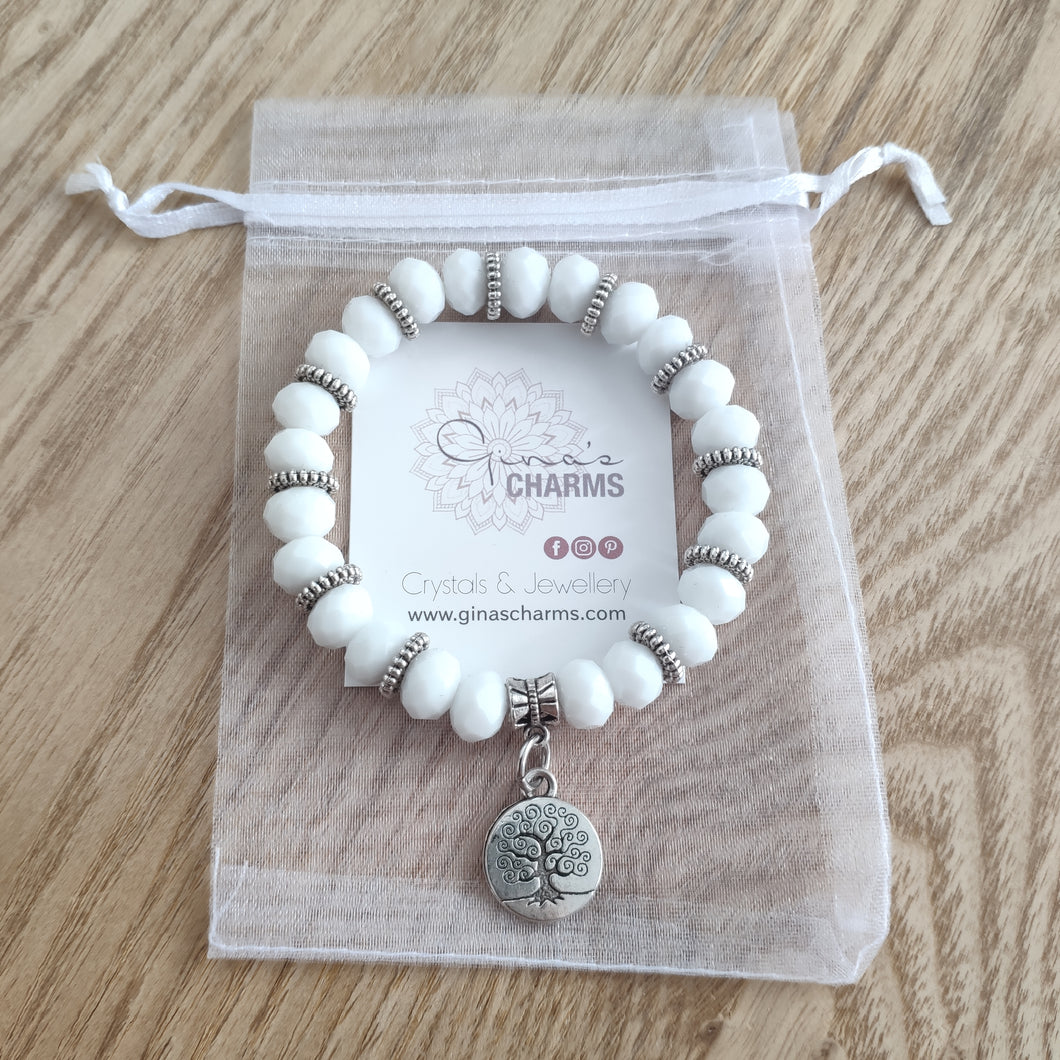 White Crystal Tree of Life Bracelet - Gina's Charms