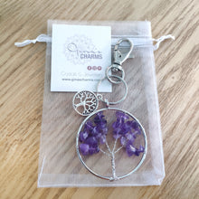 Load image into Gallery viewer, Amethyst Tree of Life Clip-On Bagcharm Keychain