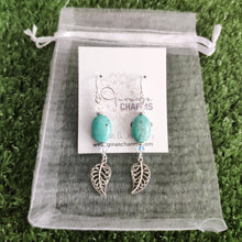 Load image into Gallery viewer, Filigree Leaf Dangle Earrings -Howlite Ovals with Swarovski Crystals - Gina's Charms