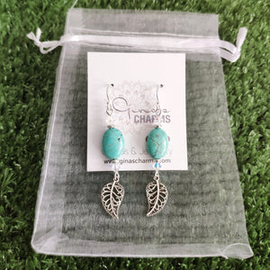 Filigree Leaf Dangle Earrings -Howlite Ovals with Swarovski Crystals - Gina's Charms