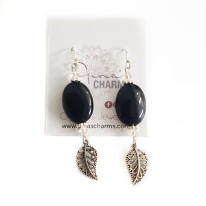 Filigree Leaf Dangle Earrings - Black Agate Ovals with Silk Swarovski Crystals - Gina's Charms