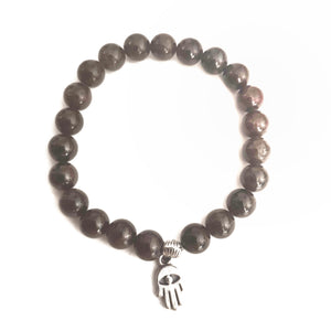 Garnet Bracelet with Protection Charm - Gina's Charms