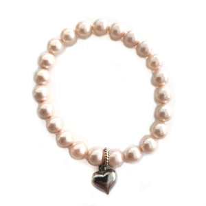 Pink Pearl Heart Charm Bracelet - Gina's Charms