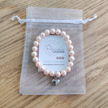 Load image into Gallery viewer, Pink Pearl Heart Charm Bracelet - Gina's Charms