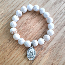 Load image into Gallery viewer, Howlite Bracelet with ArchAngel Charm - Gina's Charms