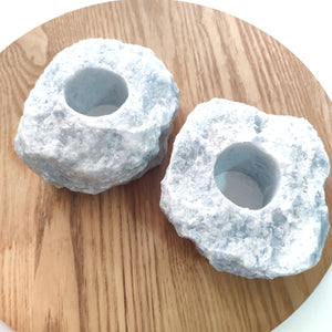 Blue Calcite Raw Candle Holder Large - Gina's Charms
