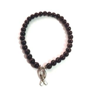 Garnet Bracelet with HOPE Ribbon Charm - Gina's Charms
