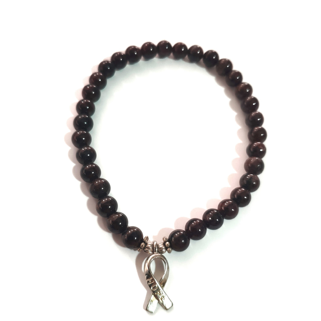Garnet Bracelet with HOPE Ribbon Charm