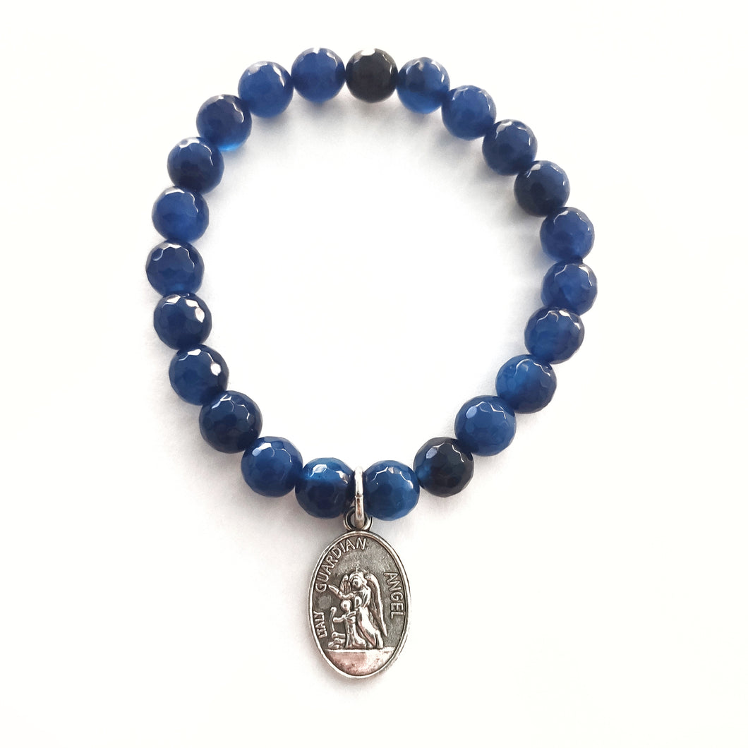 Agate Bracelet with ArchAngel Charm - Gina's Charms