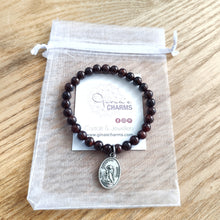 Load image into Gallery viewer, Garnet Bracelet with ArchAngel Charm - Gina's Charms
