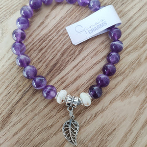 Amethyst & Howlite HAPPINESS Bracelet - Gina's Charms
