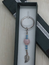 Load image into Gallery viewer, Rose Quartz Heart & Swarovski Crystal HAPPINESS Keychain