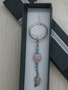 Rose Quartz Heart & Swarovski Crystal HAPPINESS Keychain