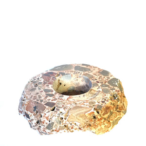 Leopard Jasper Polished Candle Holder - Gina's Charms