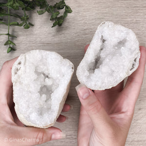 Natural Geode Pair - 2 Matching Clear Quartz Halves - XL - Gina's Charms