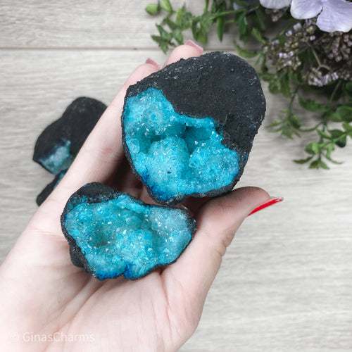Quartz Geode Pair - 2 Matching Halves M Teal - Gina's Charms