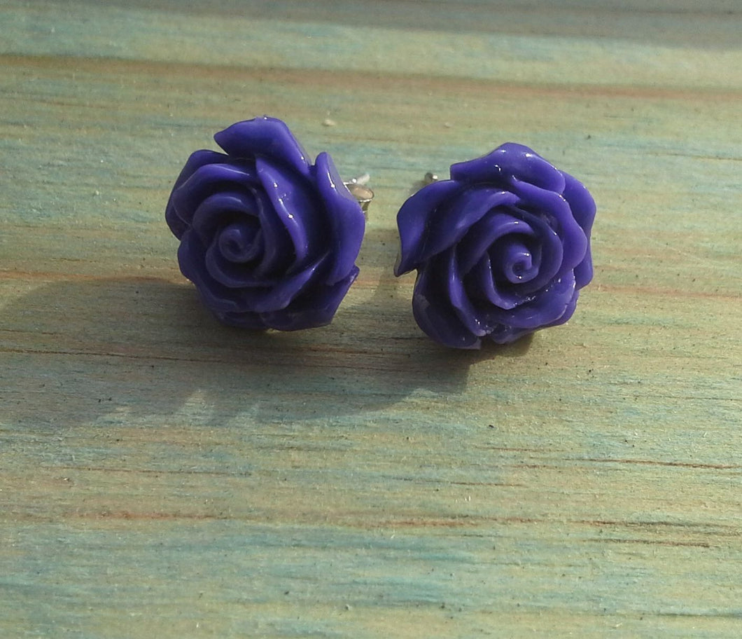 Sterling Silver Purple Rose Large Studs