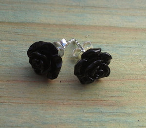 Sterling Silver Resin Rose - Small Studs Range