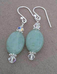 Green Jade Aventurine Oval Gemstone Earrings with Swarovski Crystals