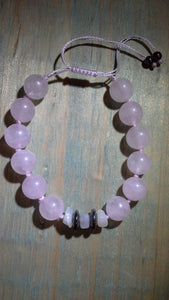 Infinity Rose Quartz Adjustable Bracelet with Hematite & Moonstone