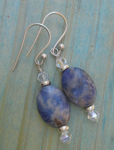 Sodalite Oval Gemstone Earrings with Swarovski Crystals