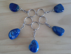 Gemstone Keyring - Blue Agate Crystal Nugget