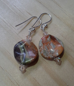 Gemstone Swirl Earrings with Swarovski Crystals