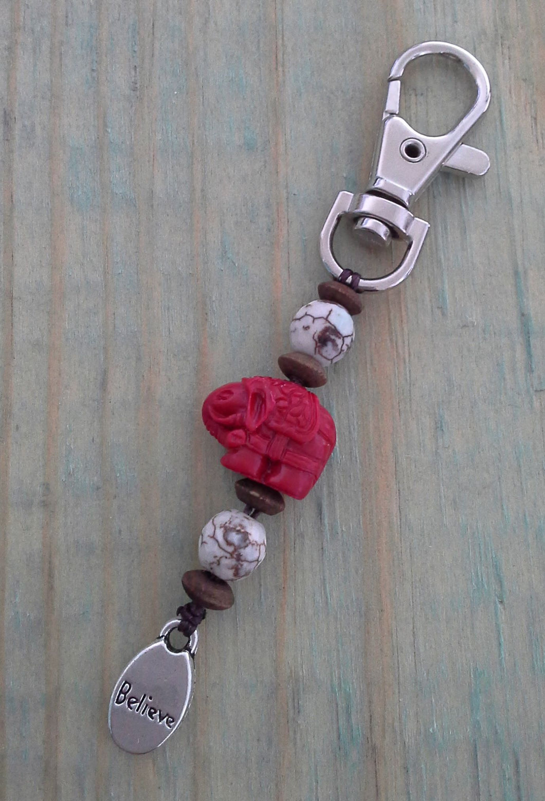 Agate BELIEVE BagCharm/Keychain with Red Elephant Feature Charm
