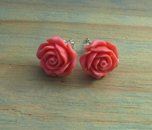 Sterling Silver Coral Rose Large Studs