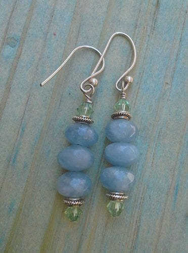 Aquamarine Rondelle Gemstone Earrings with Chrysolite Swarovski Crystals