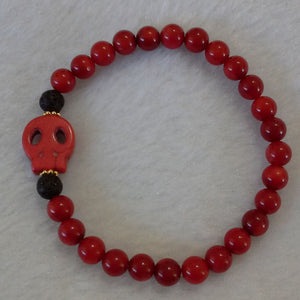 Unisex Bracelet - Red Coral with Lava and Red Skull Charm