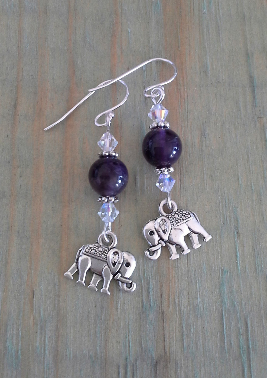 Elephant Dangle Earrings - Amethyst with clear AB Swarovski crystals
